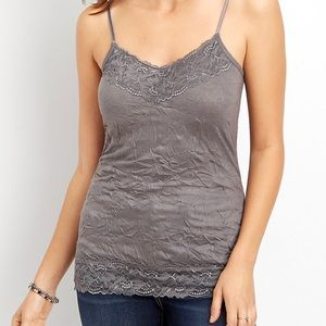 Maurices Gray Rhinestone Crinkle Cami Top 1092